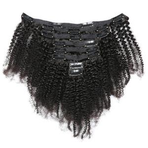 Девы бразильские человеческие волосы афро странный вьющиеся зажим в наращивание волос 8-20 дюймов натуральный цвет для чернокожих женщин