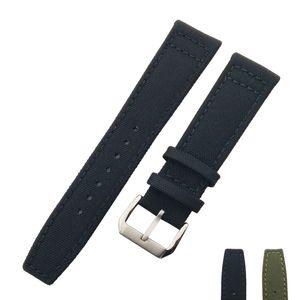 20mm 21mm 22mm Bracelet de montre en nylon + Boucle en acier inoxydable en cuir véritable