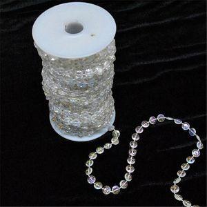 30 metros / 99 pés / Roll Diy iridescente Garland Diamante acrílico cristal Beads Strand Shimmery do casamento da árvore de Natal Decoração para Janela Início