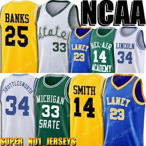 NCAA Michigan University Earvin 33 Johnson Jersey Lew Alcindor 34 Gesù Shuttlesworth maglie Bel-Air Academy 14 Smith 25 Banche Jersey