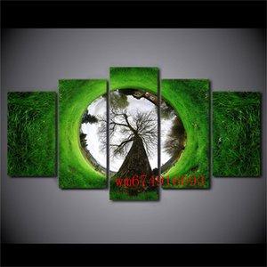 Tree Grass House, 5 Piezas Decoración para el hogar Pintura de arte moderno impresa HD en lienzo (sin marco / enmarcada)