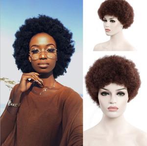 Synthetic afro peruca por Mulheres Africano Escuro Castanho Escuro Cor curto encaracolado peruca de cabelo Cosplay