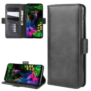 Para LG G8S thinq Duplo Buckle Crazy Horse Negócios Mobile Phone Holster com função de cartão da carteira Bracket