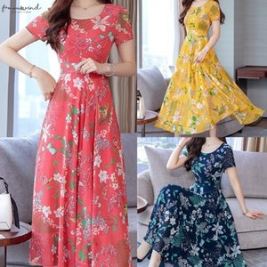 Autumn Casual Fit Floral And Flare Maxi Dress Elegant O Neck Short Sleeve Flower Print Women Sexy Winter Fashion Dresses 2020