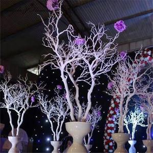 92cm de plástico Coral rama de árbol de bricolaje boda Camino que lleva Inicio decoración de jardín flor blanca de la pared Coral planta de ramas decoración de la pared SH190920