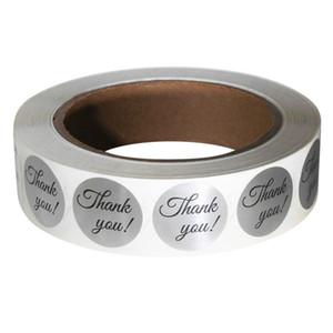 500pc decorazione della festa nuziale adesivi decorazione Grazie Etichetta rotolo etichetta, 1 amp ;; Cerchio, foglia argento per fatti a mano