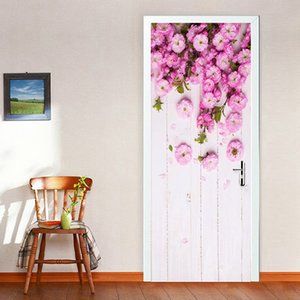 Porte d'art peintes à la main moderne autocollant 3D Fleurs roses style pastoral Peinture murale Photo Wallpaper Salon Maison Mariage Autocollants PVC