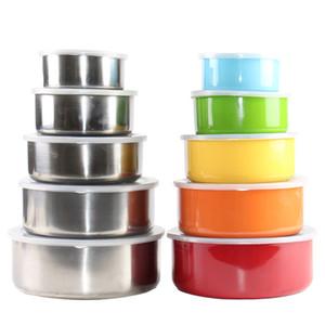 Saklama Kutusu Mutfak Gıda Saklama Aracı XD23592 Mühürlü Kapak Meal Kutu Koruma Bowl Seti Round ile 5 adet / set Paslanmaz Çelik Koruma Kutusu