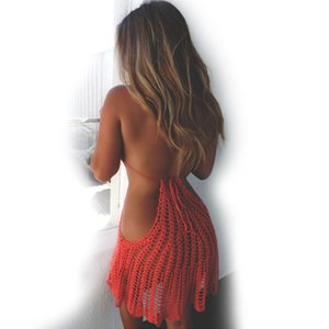 2019 Women Bikini Crochet Sexy Red Black Openwork Cover Ups 니트 등이없는 고삐 수영복 수영복 수영복 Beach Dress Y19072001