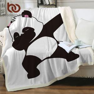 BeddingOutlet Panda Sherpa Battaniye Karikatür Hayvan Polar Atma Battaniye Ayılar Çocuklar Peluş Battaniye Panda Duruş Örtüsü Dropship Y200417