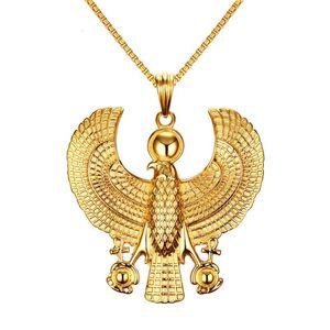 Geniş Erkekler Hip Hop Kaya Takı Altın rengi Titanyum Çelik Mısır Ankh Çapraz Kartal Horus Kolye Kolye Bling 70 * 70mm Büyük