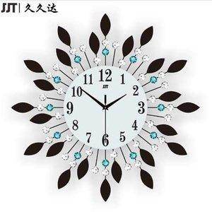 Reloj de pared grande de cristal de cristal de cristal de cristal de JJT Luxury Diamond Clock para sala de estar decoración