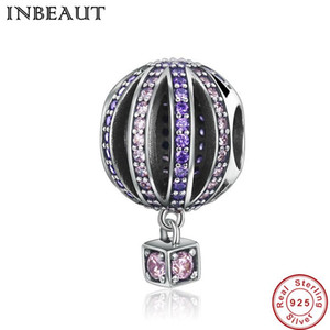 TINBEAUT Real 925 Sterling Silver Pink&Purple Mirco Sparkling Cubic Zirconia balloon Beads Charm fit Pandora Bracelet Jewelry