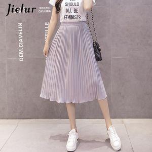 Jielur 6 Colors Korean Fashion Summer Skirt Female Chiffon High Waist Pleated Skirts Womens S-XL Harajuku Faldas Mujer CX200701