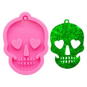 Fantasma de Halloween cabeza del cráneo llavero de silicona molde de silicona del molde de joyería de DIY que hace la resina de epoxy molde de pastel Azucareros herramientas artesanales