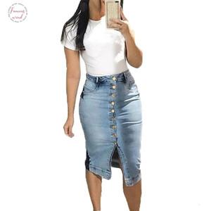 Vintage Denim Midi Skirt High Waist Skirts Women Fashion 2020 Jeans Skirt Jupe Jean Femme Summer Clothes Gray Blue