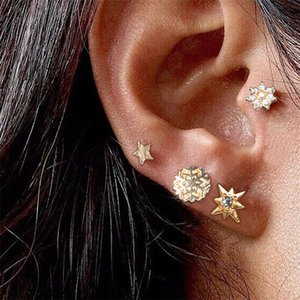 New Fashion Gold Color Snowflake Sun Star Flower Stud Earrings Set For Women Punk Style Party Earrings Jewelry, 4PCs Set