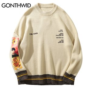 GONTHWID Van Gogh Sleeve Patchwork Pullover Knit Sweater 2019 Mens Hip Hop Embroidery Crewneck Knitwear Sweaters Streetwear Tops V191118