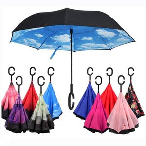 C-Hand Reverse Umbrellas Windproof Reverse Double Layer Inverted Umbrella Inside Out Self Stand Windproof Umbrella 40 styles EEA1680