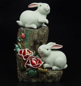 poupée designer boutique florissant nouveau lapin moderne animal chinois Ameublement ornements en céramique accessoires