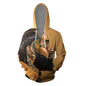 Rap Mens 3D Hoodies Hiphop Nipsey Hussle Vêtements Cardigans Imprimé Fermeture eclaire Casual Adolescent Skateboard Sweat-shirts souvenir