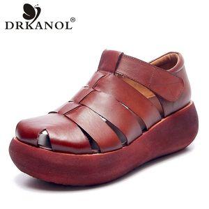 DRKANOL fatti a mano retrò Donna Sandali estate Scarpe sandali gladiatore per la piattaforma incunea il cuoio genuino casuale