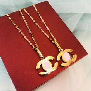 Calidad superior de titanio de acero de lujo Carta de la tapa del collar diseñador de la joyería collar de cristal de diamante de los collares pendientes de las mujeres Collares