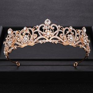 Vintage Rhinestone Kristal Altın Taç Princes Düğün taç Kafa Gelin Diadem Parti Gelinlik Saç Takı Aksesuar