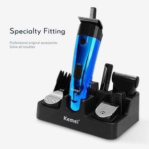 Kemei 891 recargable de la maquinilla de afeitar de pelo eléctrico 6 en 1 multifuncional corte del pelo de la barba máquina eléctrica Trimer F30