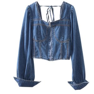 New Fashion Women Sexy Backless Fashion Blouse Back Lace Up Short Denim Blouse Ladies Long Sleeve Jeans Shirts Tops Tide G323