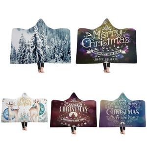 Frohe Weihnachten mit Kapuze Decke Fleece tragbare Decken Kinder Erwachsene Weihnachtsgeschenk warme Mantel Capes Windeln GGA2589