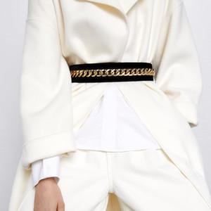 Новая зимняя модная мода роскошный дизайнер металлический из металлической цепной цепи бархатный эластичный растягивающийся повседневный ремень для женщины женщина