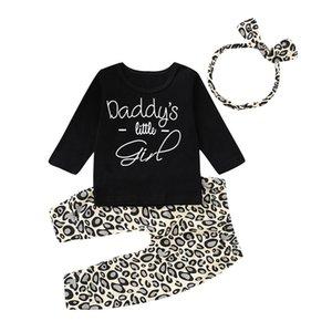 INS New Infantil Bebê Meninos Meninas Babados Tops Tees com Calças de Leopardo Hairbands 3 peças Define Malhas de Algodão Camisolas Conjunto de Roupas de Crianças