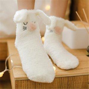 20191026 Mercan Peluş çorap sevimli karikatür tavşan kulaklar orta tüp sıcak Peluş çorap kalınlaşmış