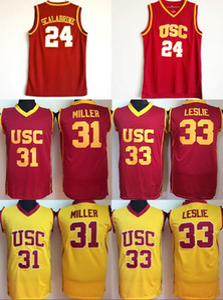 USC Trojans College 24 Brian Scalabrine 저지 31 Matt Miller 33 Lisa Leslie 농구 Jerseys University 팀 레드 컬러 화이트 어웨이 품질