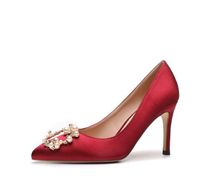 with box luxury Sexy Bridesmaid Wedding Shoes Women's pointed pearl water drill high heels party dress shoes designer lady red stiletto heel