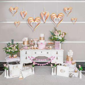 Yaratıcı Romantik Kağıt Garlands 5 Renkler Aşk Kalp Şekli Duvar Asılı Süsleme Kolay Kullanım Kolye sevgililer Günü Için 6 5jks BB