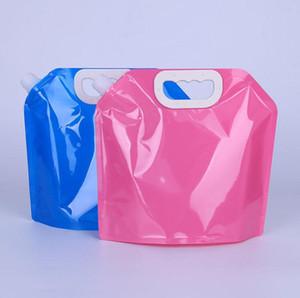 5L прозрачный пластик пищевой упаковки встать носик ручка открытый путешествия 5000ml складной мешок воды SN1692