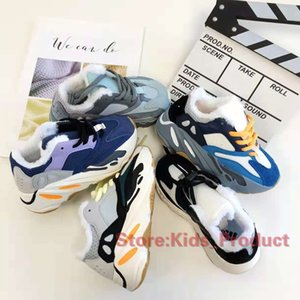 Clássico 700 Kids Shoes 2020 Kanye West bebê Sneakers corredor da onda cinzenta contínua Teal azul do inverno além de veludo Running Shoes Tamanho 28-35