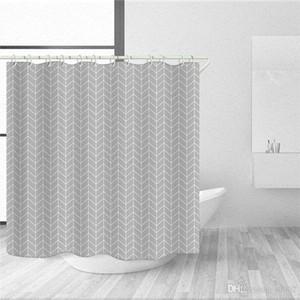 스트라이프 간결한 창 커튼 폴리 에스테르 섬유 직물 욕실 샤워 커튼 곰팡이 증거 반응성 인쇄 논 페이딩 (10) 2ty4b1을 설정합니다
