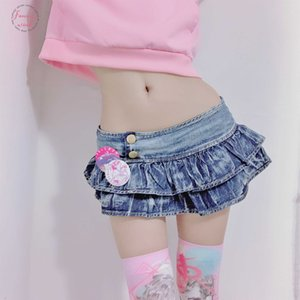 Japanese Girl Pleated Super Mini Denim Skirts Low Waist A Line Bud Skirts Solid Night Club Party Wear Punk Style