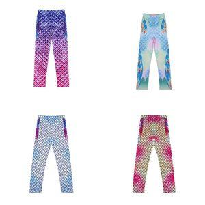 5 цветов Девочка поножи Русалка Узкие брюки Детские весы для печати Купальники Kid Gym Спорт рейтузы Новый 2020
