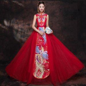 Rote kurze Hülsen-chinesischen nationalen Brautkleid Frauen Phoenix Stickerei Cheongsam Qipao Abendkleid China Bride ethnische Kleidung