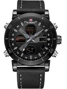 2020 NAVIFORCE ursprüngliche gute Qualität der Männer analogen Quarz-wasserdicht Sport-Leder-Band-LED Multifunktions-Armbanduhr 91