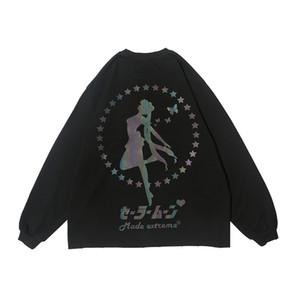 Riflettente bella ragazza modello di stampa Giapponese Manica Lunga Magliette uomini e donne luminoso Streetwear O-Collo oversize T-shirt