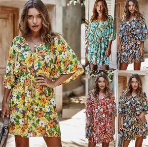 Sexy Summer Женщины дизайнер платья Мода тонкий цветочный Printed V образным вырезом платья Новый стиль женские платья