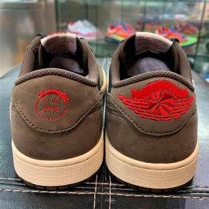 2020 authentique Travis Scott x 1 Low OG SP TS CQ4277-001 Brown Suede Noir chaussures de basket-ball de sport Chaussures de sport