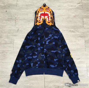 New Blue A BATHING A APE Bap para hombre COLOR CAMO TIGER FULL ZIP HOODIE Shark Jaw Full Zipper Hoodie Jersey Chaqueta de camuflaje Abrigo