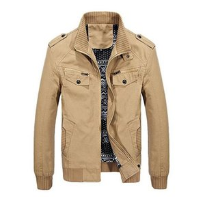 New Men's Stand Collar Cotton Jacket with Shoulder Straps Long Sleeved Casual Coat