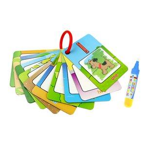Dibujo del agua mágica tarjetas de libro para colorear con la pluma de agua pintura dibujo de mesa juguetes educativos para niños de regalos